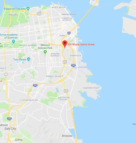 Map of San Francisco area indicating location of Nichols Law at 350 Rhode Island Street