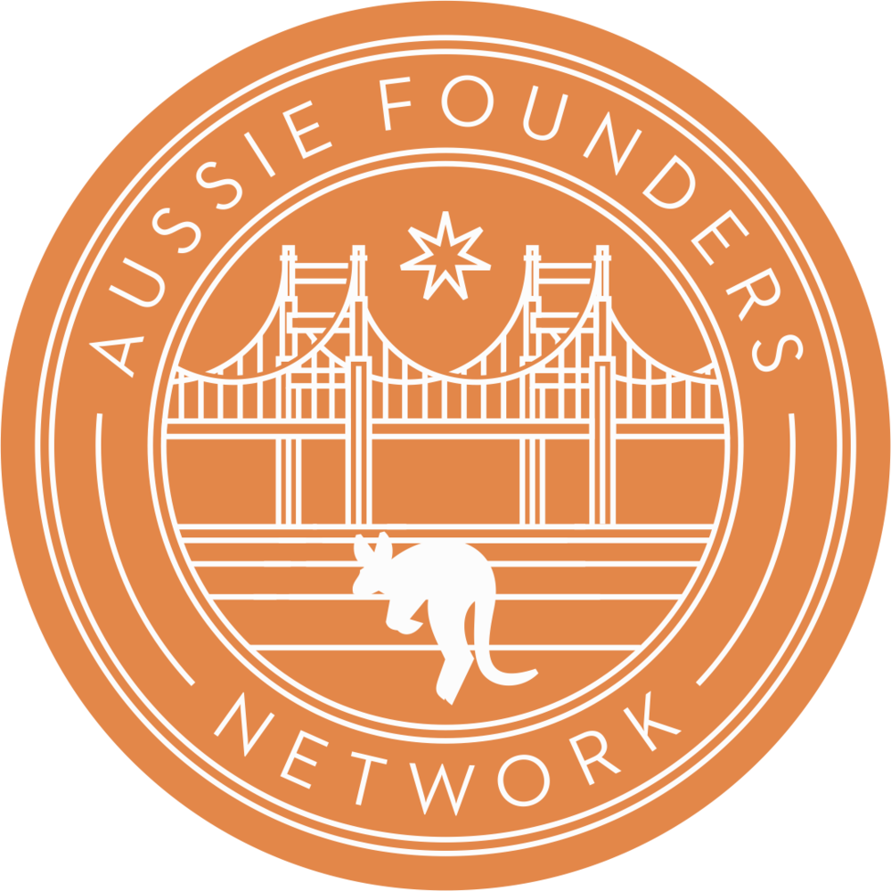Logo for Aussie Founders Network as a, orange circle with a white outline of a bridge and a kangaroo in the middle