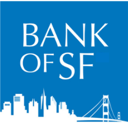 Bank of SF logo of white San Francisco skyline and blue background