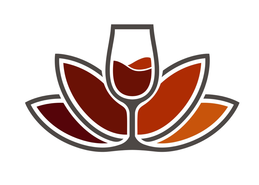 A Balanced Glass logo showing a glass of red wine as the center part of a lotus flower