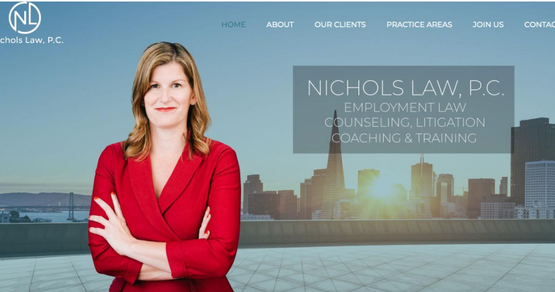 Screencap of the Nichols Law website with Sarah Nichols in a red suit with arms crossed and the San Francisco skyline in the background