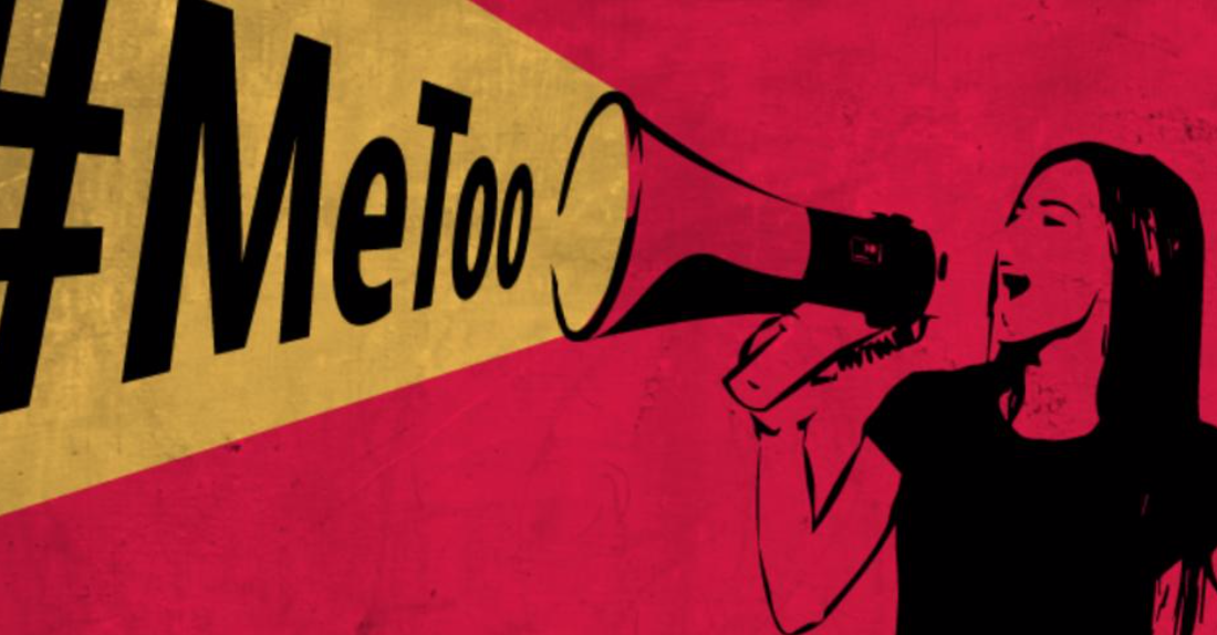 Illustrated woman shouting #MeToo through megaphone