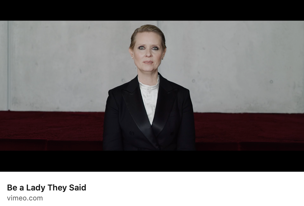 Screencap of video with Actress Cynthia Nixon